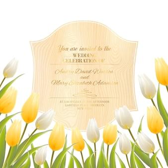 Plantilla de tarjeta de invitación de boda con tulipanes florecientes.