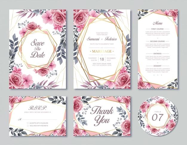 Plantilla de tarjeta de invitación de boda de la vendimia estilo de flores florales de acuarela con menú rsvp y número de mesa