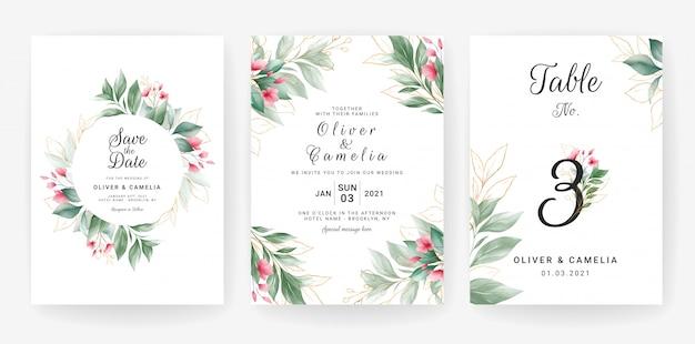 Plantilla de tarjeta de invitación de boda verde con decoración de hojas de oro acuarela.