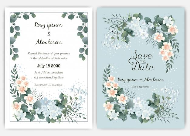 Plantilla de tarjeta de invitación de boda verde, eucalipto