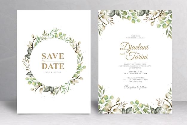 Plantilla de tarjeta de invitación de boda verde