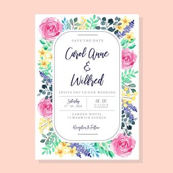 Plantilla de tarjeta de invitación de boda vintage colorido acuarela