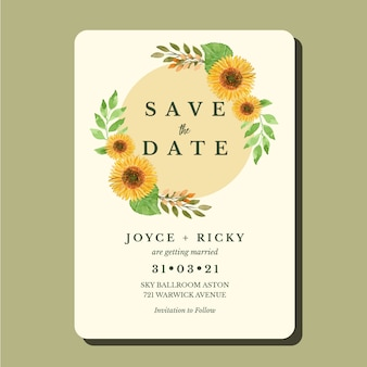Plantilla de tarjeta de invitación de boda vintage girasol acuarela