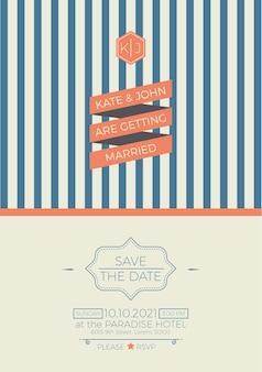 Plantilla de tarjeta de invitación de boda vintage con ilustración de diseño limpio y simple