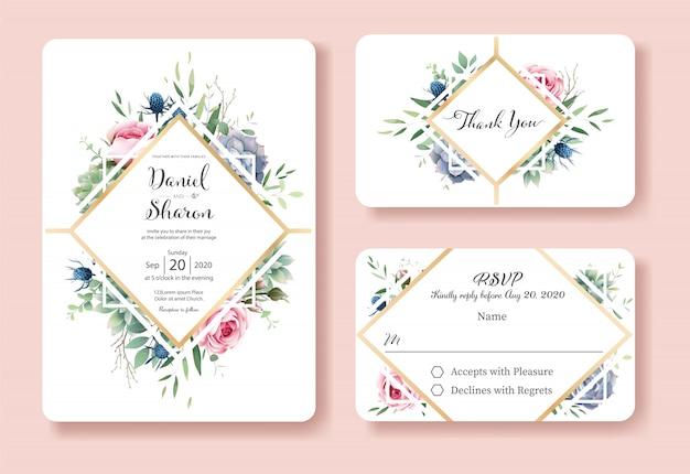 Plantilla de tarjeta de invitación de boda