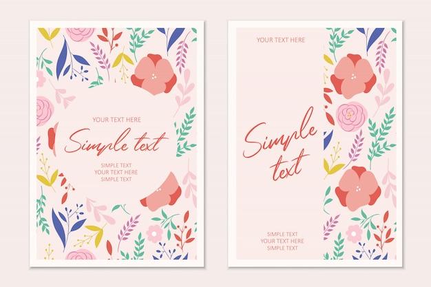 Plantilla de tarjeta de invitación botánica moderna con flores y hojas. tarjetas con espacio para texto.