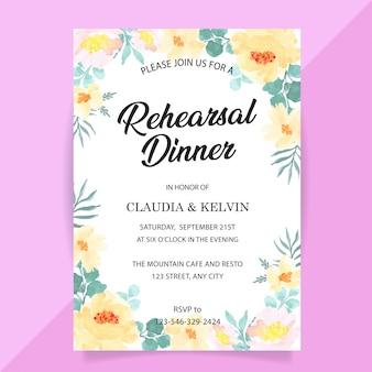 Plantilla de tarjeta de invitación para la cena de ensayo con flores de peonía amarilla de acuarela