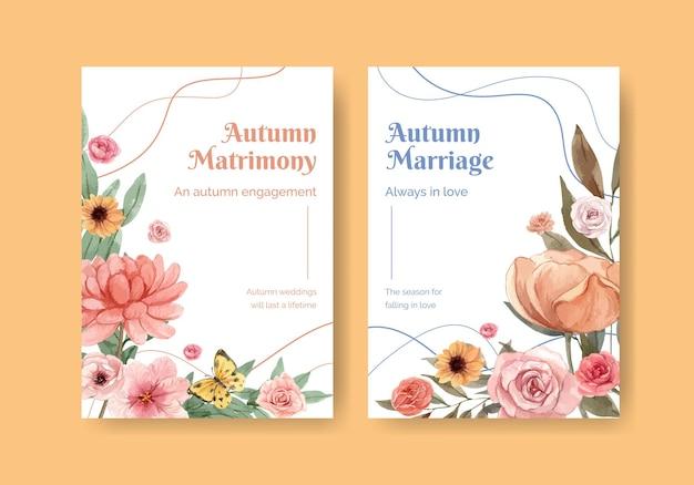 Plantilla de tarjeta de invitación con concepto de otoño de boda en estilo acuarela