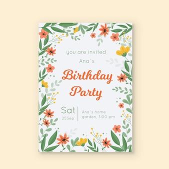 Plantilla de tarjeta de invitación de cumpleaños floral