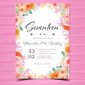 Plantilla de tarjeta de invitación de cumpleaños con hermosas flores de acuarela
