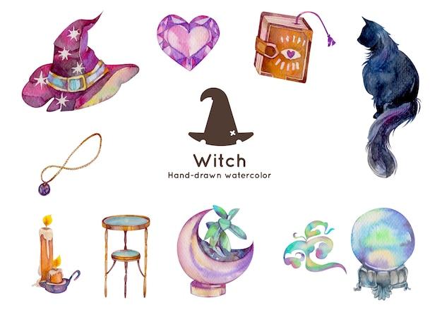 Plantilla de tarjeta de invitación de cumpleaños con ilustración de acuarela de tema de brujería