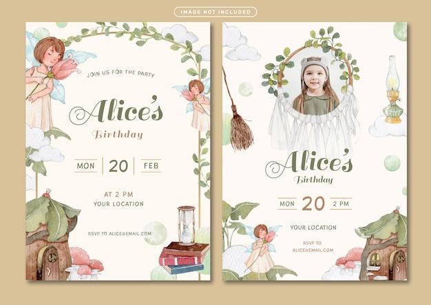 Plantilla de tarjeta de invitación de cumpleaños con ilustración de acuarela de tema de cuento de hadas