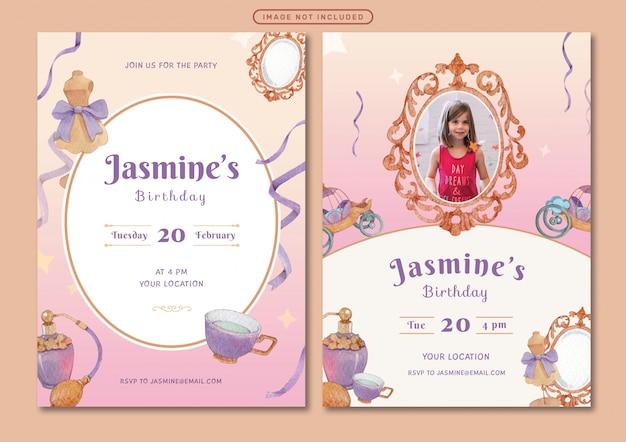 Plantilla de tarjeta de invitación de cumpleaños con ilustración de acuarela de tema princesa