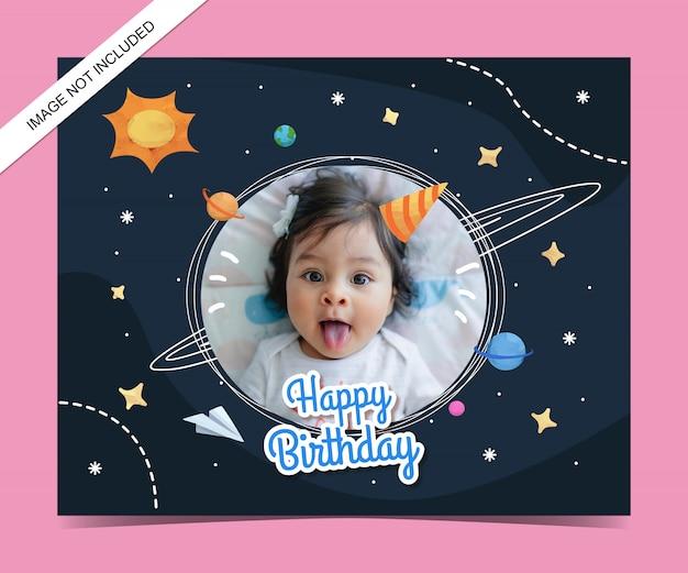 Plantilla de tarjeta de invitación de cumpleaños para niños acuarela
