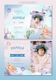Plantilla de tarjeta de invitación de cumpleaños tema sirena