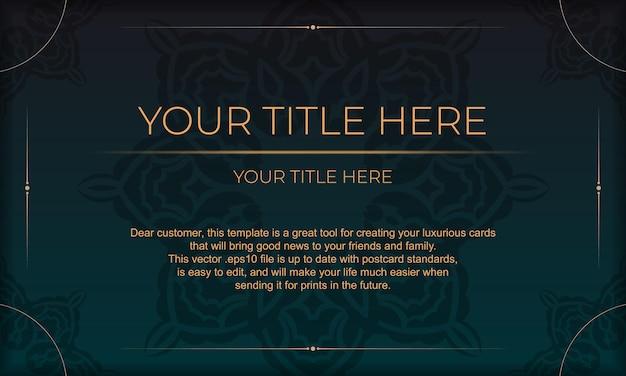 Plantilla para tarjeta de invitación de diseño de impresión con adornos vintage. banner de vector verde oscuro con adornos de lujo y lugar debajo del texto.