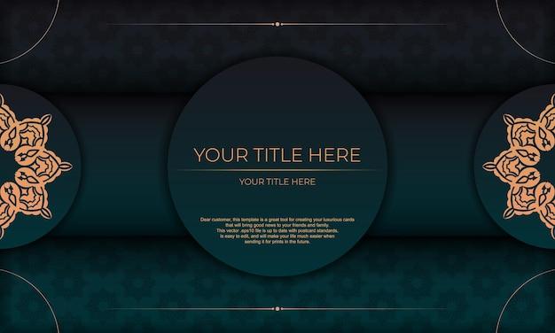 Plantilla para tarjeta de invitación de diseño de impresión con adornos vintage. fondo verde oscuro con lujosos adornos vintage y lugar para su diseño.