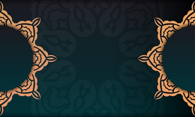Plantilla para tarjeta de invitación de diseño de impresión con patrones vintage. banner de plantilla verde oscuro con adornos de lujo y lugar debajo del texto.