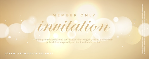 Plantilla de tarjeta de invitación dorada de lujo
