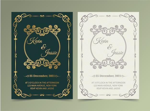 Plantilla de tarjeta de invitación dorada vintage de lujo