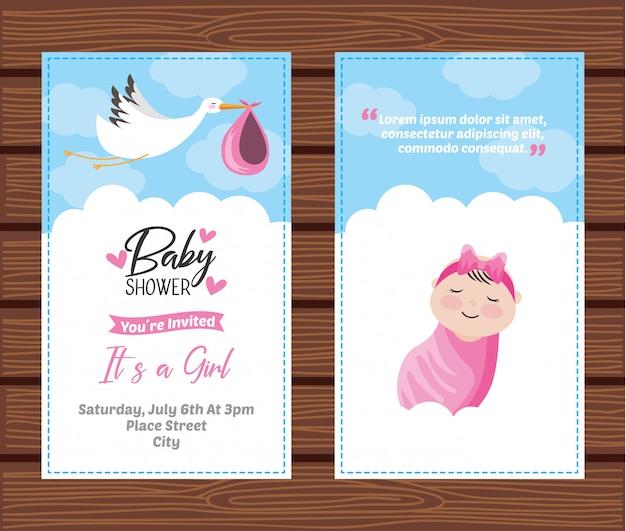 Plantilla de tarjeta de invitación de ducha de bebé