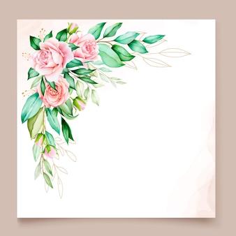Plantilla de tarjeta de invitación elegante con borde de flores
