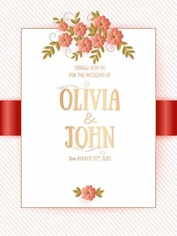 Plantilla de tarjeta de invitación con elegante decoración floral