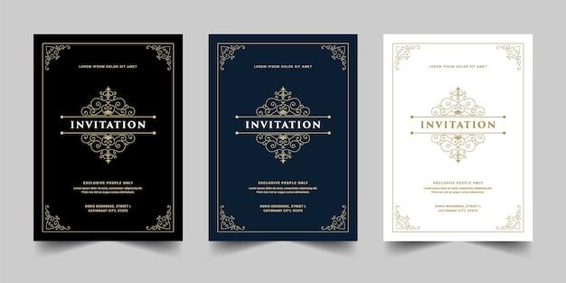 Plantilla de tarjeta de invitación de estilo retro