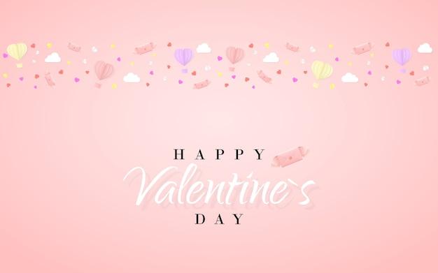 Plantilla de tarjeta de invitación de feliz día de san valentín con globo de aire caliente de papel de origami en forma de corazón, carta de papel, nubes blancas y confeti. fondo rosa.