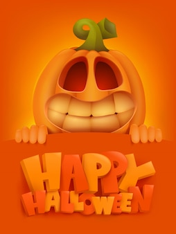 Plantilla de tarjeta de invitación de feliz halloween con personaje de dibujos animados de calabaza.