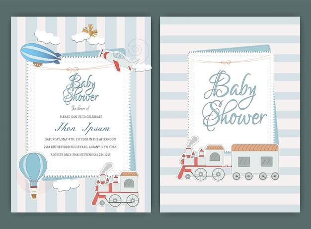 Plantilla de tarjeta de invitación de fiesta de ducha de bebé de globo de aire caliente