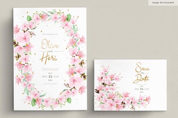 Plantilla de tarjeta de invitación de flor de cerezo en acuarela