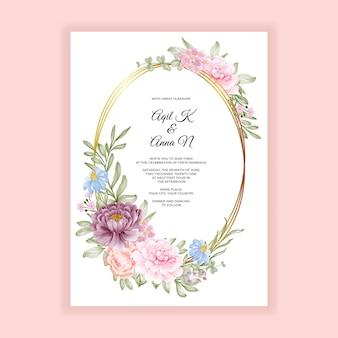 Plantilla de tarjeta de invitación de flor hermosa