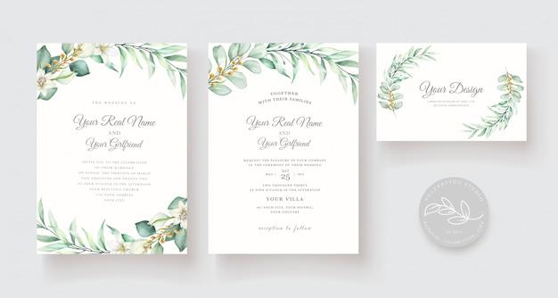 Plantilla de tarjeta de invitación floral acuarela dibujada a mano