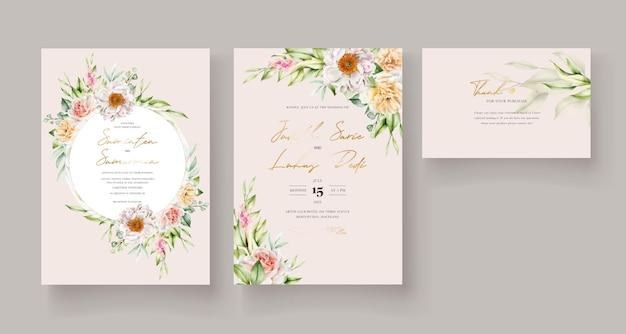 Plantilla de tarjeta de invitación floral acuarela