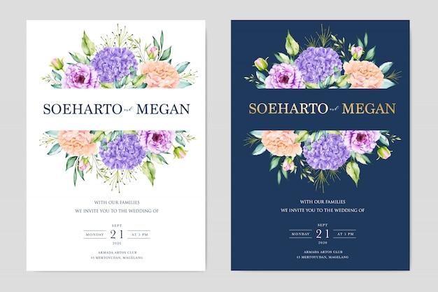 Plantilla de tarjeta de invitación floral boda acuarela