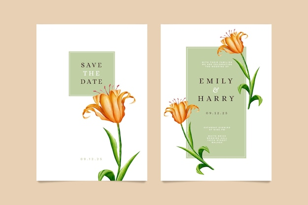 Plantilla de tarjeta de invitación floral de boda