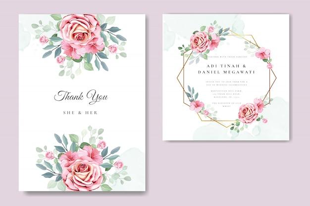 Plantilla de tarjeta de invitación floral y hojas
