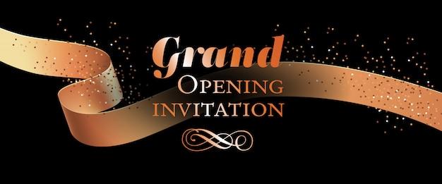 Plantilla de tarjeta de invitación de gran inauguración con cinta dorada