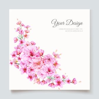 Plantilla de tarjeta de invitación hermosa flor de cerezo