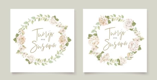 Plantilla de tarjeta de invitación de hermosas rosas