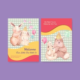 Plantilla de tarjeta de invitación con ilustración de vector de acuarela de concepto de diseño de ducha de bebé.