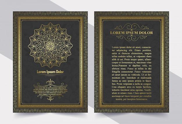 Plantilla de tarjeta de invitación de oro vintage de lujo.