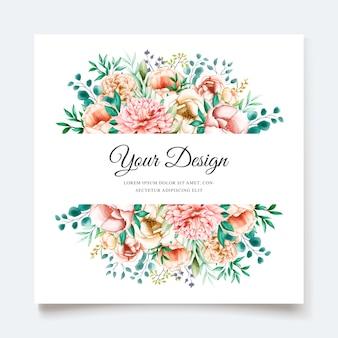Plantilla de tarjeta de invitación de peonías elegantes