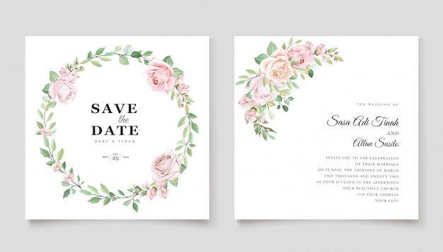 Plantilla de tarjeta de invitación de rosas hermosas