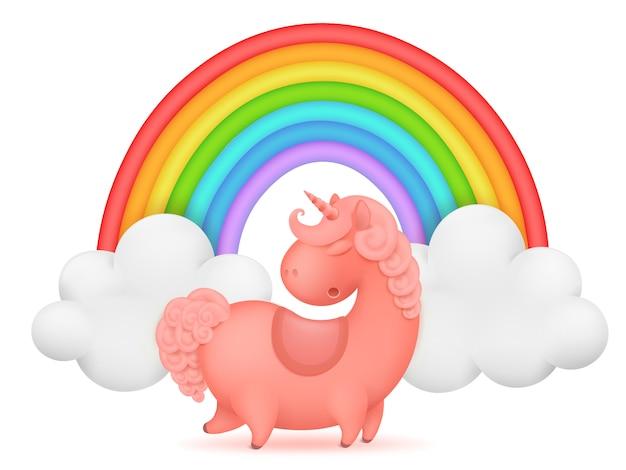 Plantilla de tarjeta de invitación de unicornio personaje de dibujos animados arco iris