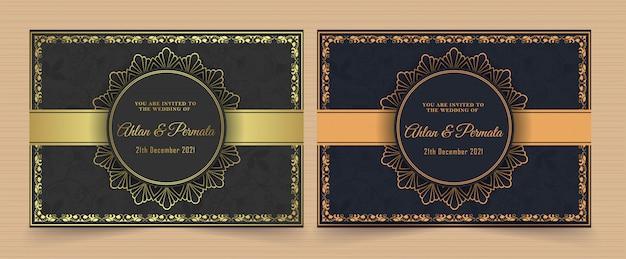 Plantilla de tarjeta de invitación de vector dorado vintage de lujo