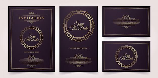 Plantilla de tarjeta de invitación de vector de oro vintage de lujo