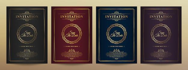 Plantilla de tarjeta de invitación de vector de oro vintage de lujo.