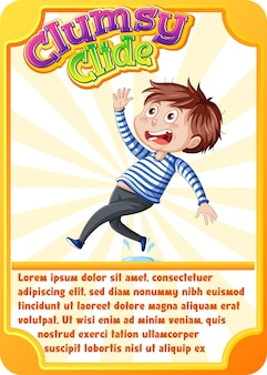 Plantilla de tarjeta de juego de personajes con la palabra clumsy clide